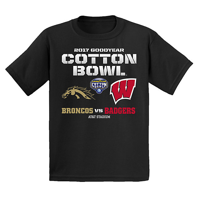 2017 Goodyear Cotton Bowl Western Michigan vs. Wisconsin Youth Matchup Short Sleeve Tee